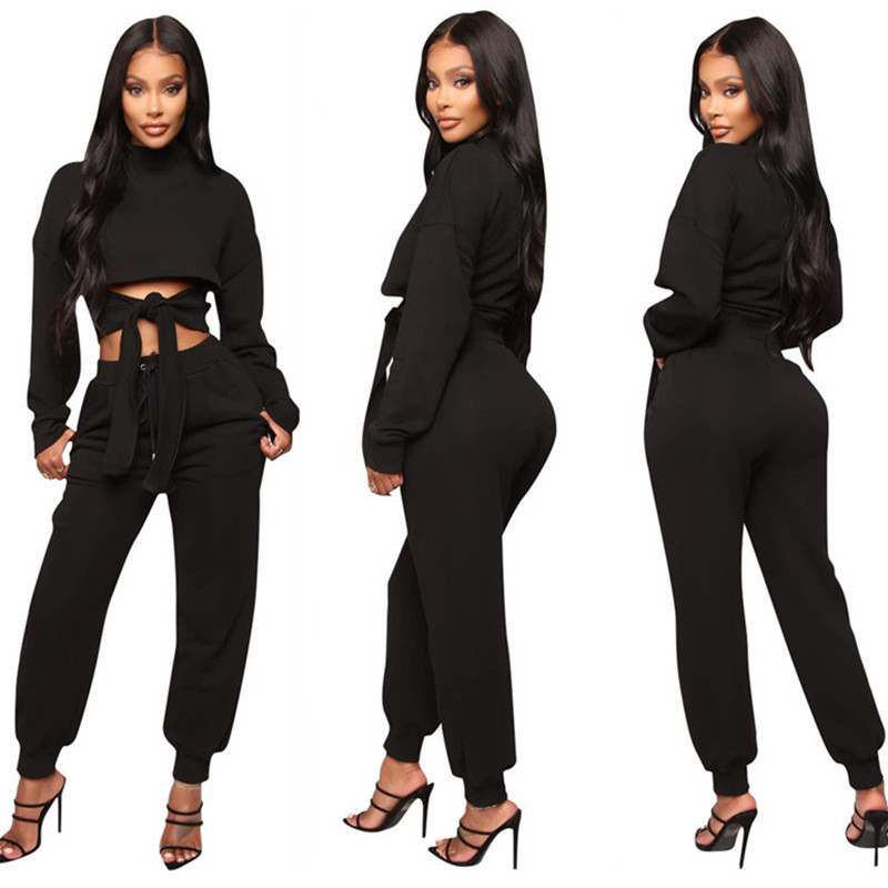 Front Lace Up Crop Top T shirts & Pants Two Piece Set Women Casual 2 Piece Tracksuit Outfits Sports Matching Sets Fall Clothes