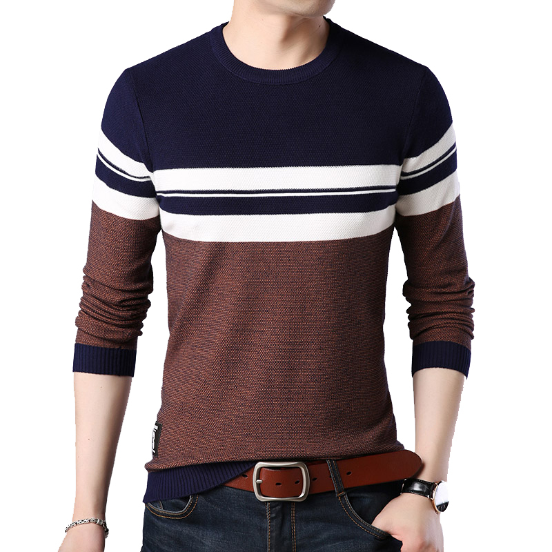 BROWON Brand 2020 Autumn Casual Men's Sweater Men's O-neck Striped Slim Fit Knittwear Mens Sweaters Pullovers Sweater For Men