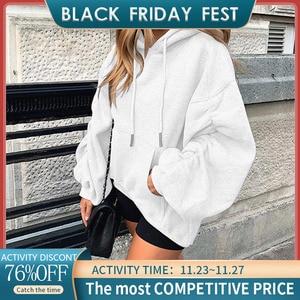 Autumn Pleated Hooded Women's Sweatshirt Long Sleeve Drawstring Pocket Female Hoodies Solid Streetwear Casual Loose Lady Clothes