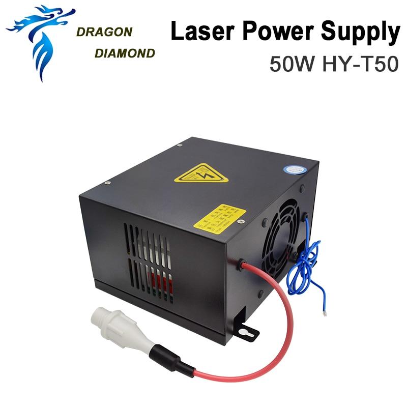 Fuente de alimentación de láser Dragon Diamond 50W CO2 para máquina de corte y grabado láser CO2 Serie HY-T50 T / W
