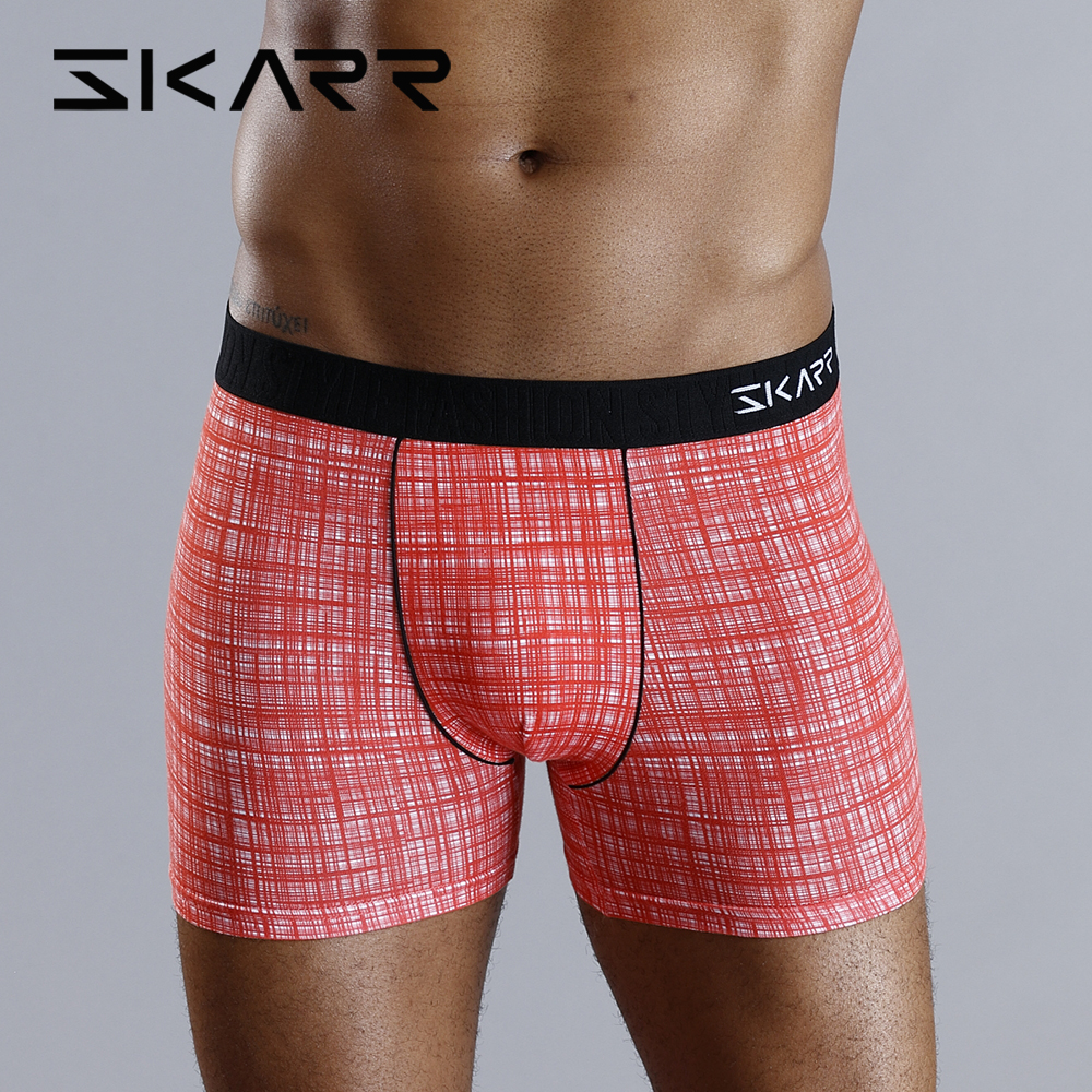 SKARR Man Underwear Men Boxer Shorts Mens Underware Boxershorts Cotton Underpants Sexy Gay Modal Plus Panties Seamless