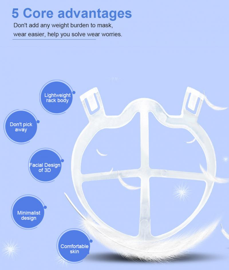 3D Mouth Mask Support Breathing Assist Help Mask Inner Cushion Bracket Food Grade Silicone Mask Holder Breathable Valve Holder