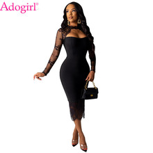 Adogirl Women Sexy Lace Patchwork Midi Dress Strapless Cutout Long Sleeve Bodycon Night Club Party Office Lady Vestidos