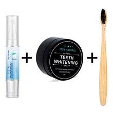Отбеливание зубов натуральный кокосовый уголь зубной порошок бамбуковая зубная щетка и отбеливание зубов ручка гигиена полости рта чистящий набор