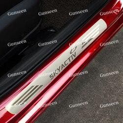 Na akcesoria samochodowe 2014 2015 2017 2020 Mazda 6 stylizacji nierdzewny próg drzwiowy płyta chroniąca przed zarysowaniem wykończenia osłona zabezpieczająca samochód stylowe naklejki w Ochronne listwy boczne od Samochody i motocykle na