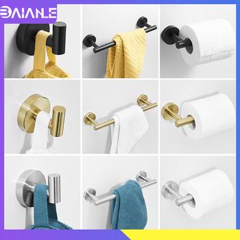 Wieszak na ręczniki zestaw ze stali nierdzewnej wieszak na ręczniki wieszak na ręczniki łazienka hak na ręczniki wieszak na kurtki do montażu na ścianie wc uchwyt na papier czarny tanie i dobre opinie BAIANLE Stainless Steel Szczotkowane BAI1110B Metal Zestawy sprzętu do kąpieli Towel Holder Bathroom Shelf Storage toallero porte serviette