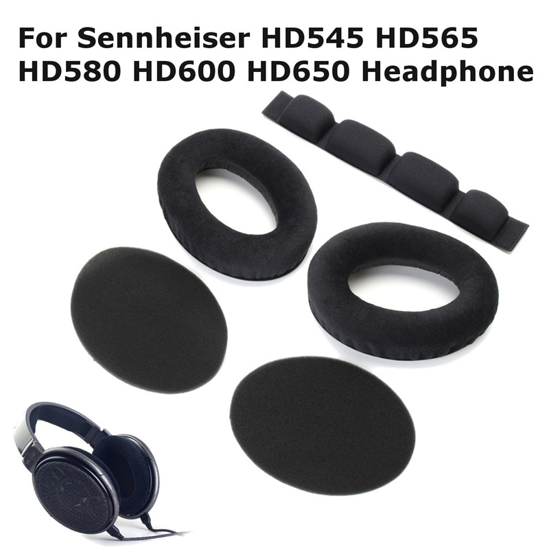 Soft Earpads Foam <font><b>Pads</b></font> Cushion with Headband Set For <font><b>Sennheiser</b></font> Headphone Replacement Inside Tone Tuning Foam <font><b>Ear</b></font> Cup HD545 image