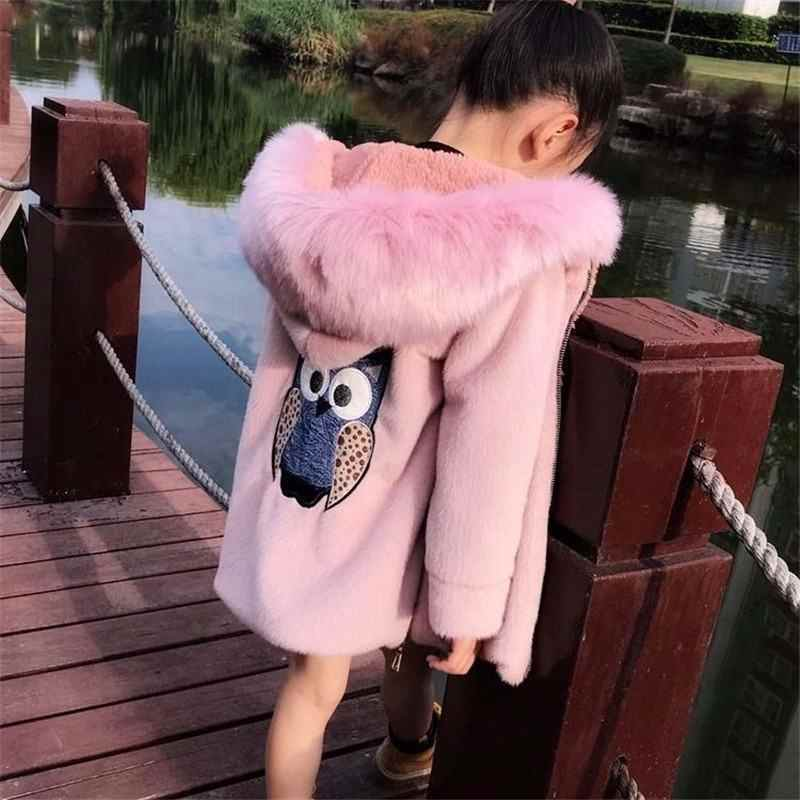 2019 New Winter Kids Girls Rabbit Faux Fur Woolen Jackets Children Girls Warm Collar Clothes Coats Teenage Hooded Outerwear W195
