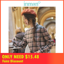 INMAN 2019 Autumn New Arrival Lace Stand up Collar Casual Long Sleeve Retro Slim Plaid Literary Women Blouse