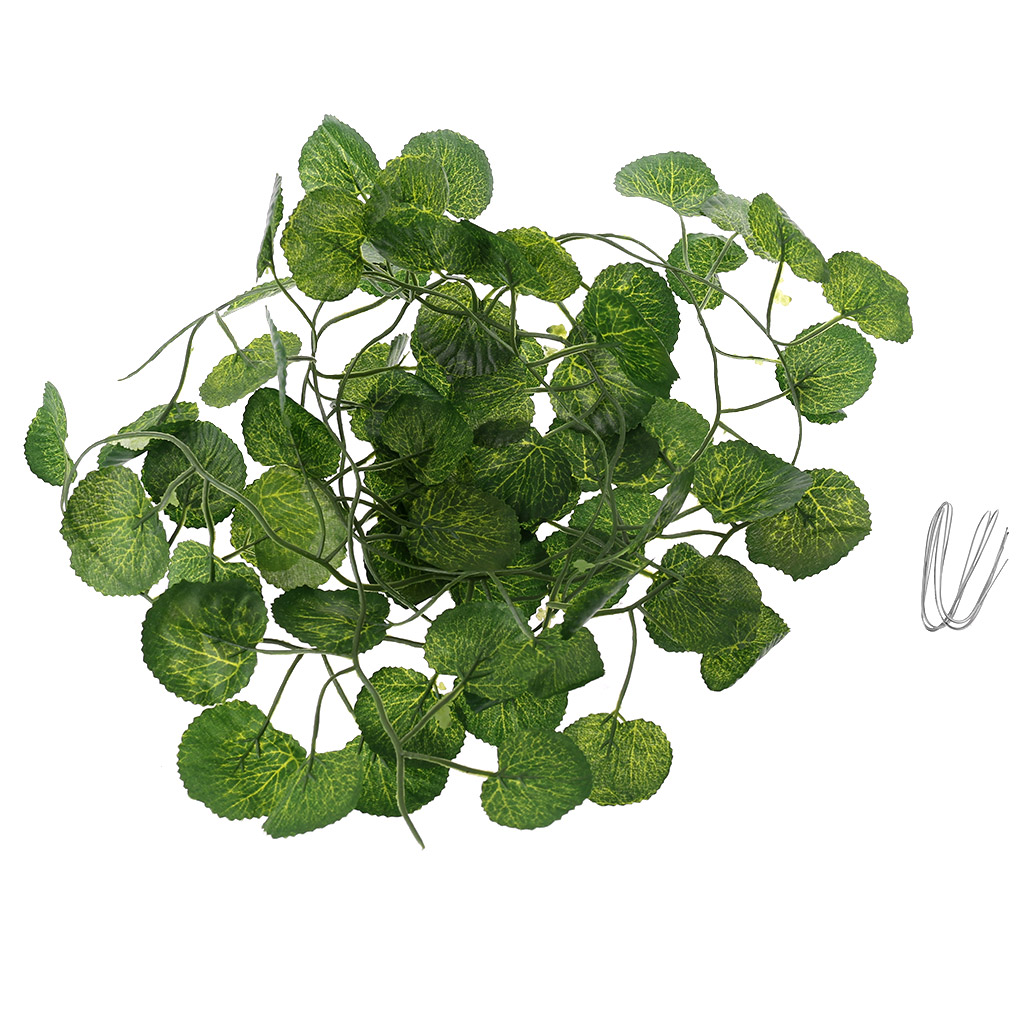Artificial Vine Reptile Terrarium Box Habitat Decoration Lizard Green Fake Leaves