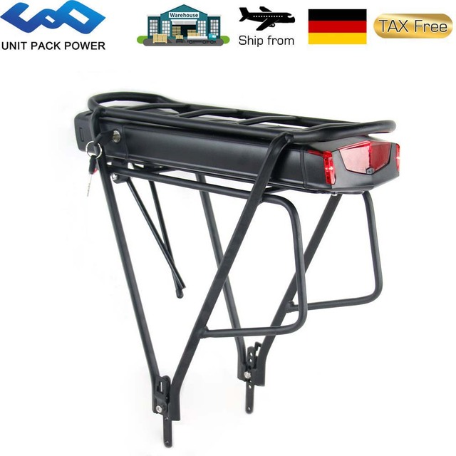 """Rear Rack Electric eBike Battery 36V 17.5Ah 14.5Ah 13Ah Bicycle Battery With 20-28"""" 2 Layer Luggage for 500W 350W 250W Motor"""