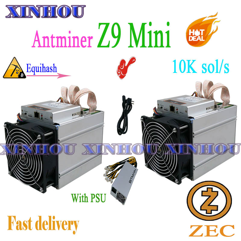 2pcs Used Antminer Z9mini 10K ZCASH ZEC BTG Asic Equihash Miner With 1pc BITMAIN 1600W PSU Miner More Economical Than Z9 Z11 A9