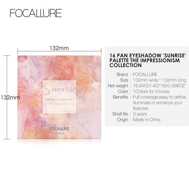 FOCALLURE New Sunrise Eye Shadow Palette Glitter Matte Pigment Eyeshadow Loose Powder Luxury Quality Eyeshadow 5