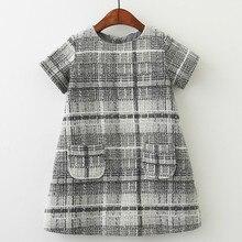 Girls Dress Brand Autumn Girls Clothes O-neck Plaid Pocket Design for Children Clothing 3-7Y Kids Princess Dresses 40