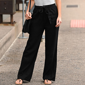 Spring Summer Hot Sale Solid Wide Leg Pants Loose Pants Length Pants Women's Stylish Loose Pants  Hight Waist Full Length Pants