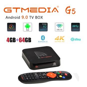 GTmedia G5 Smart TV BOX Android 9.0 H.265 Amlogic S905X2 4GB 64GB+1 Year Cline server Satellite TV Receiver Receptor Android Box