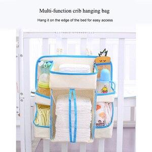 Детская кровать висячая сумка для хранения игрушки подгузники с карманами портативный прикроватный столик детское постельное белье Органайзер голубое обрамление сумка для хранения подгузников