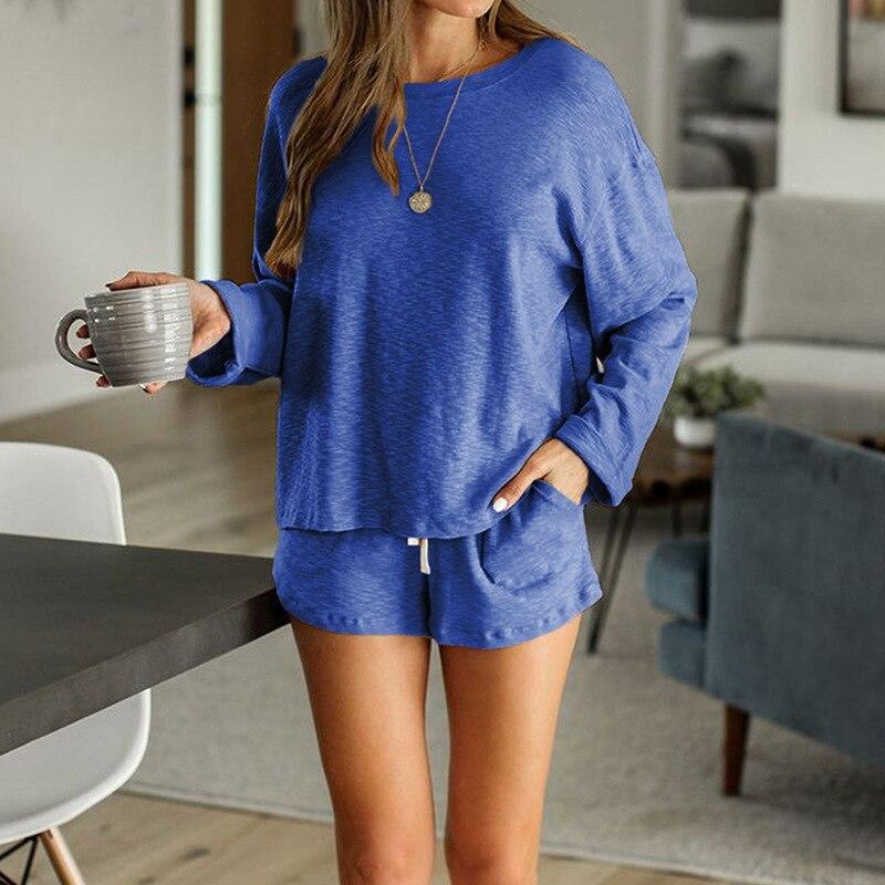 2020 New loungewear women pajama set summer breathable nightgown sleepwear indoor long sleeve sleep tops two pieces pijama mujer (8)