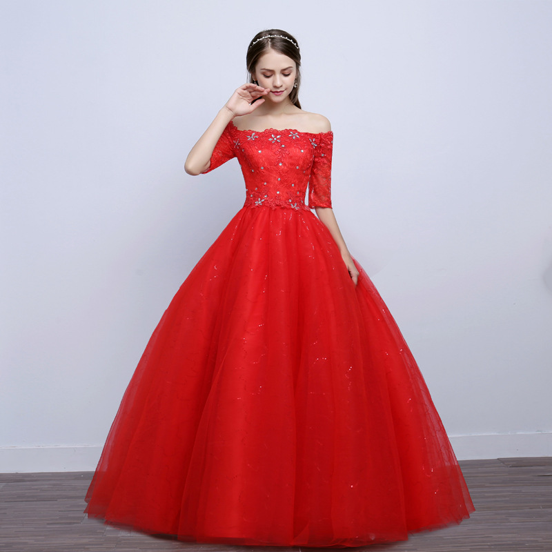 Off-Shoulder Wedding Dress 2019 New Style Slimming Korean-style Bride Marriage Red Qidi Large Size Fashion