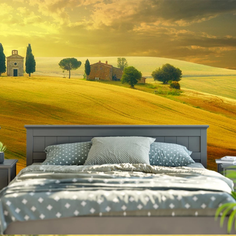 Papel De Parede 3d Rural Red Sun Dusk Nature Scenery Landscape Wallpaper Background Retro Living/Bedroom Background Wall Murals
