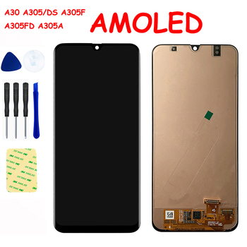 AMOLED For SAMSUNG GALAXY A30 A305/DS A305F A305FD A305A LCD Display Panel Touch Screen Digitizer Sensor Glass Assembly