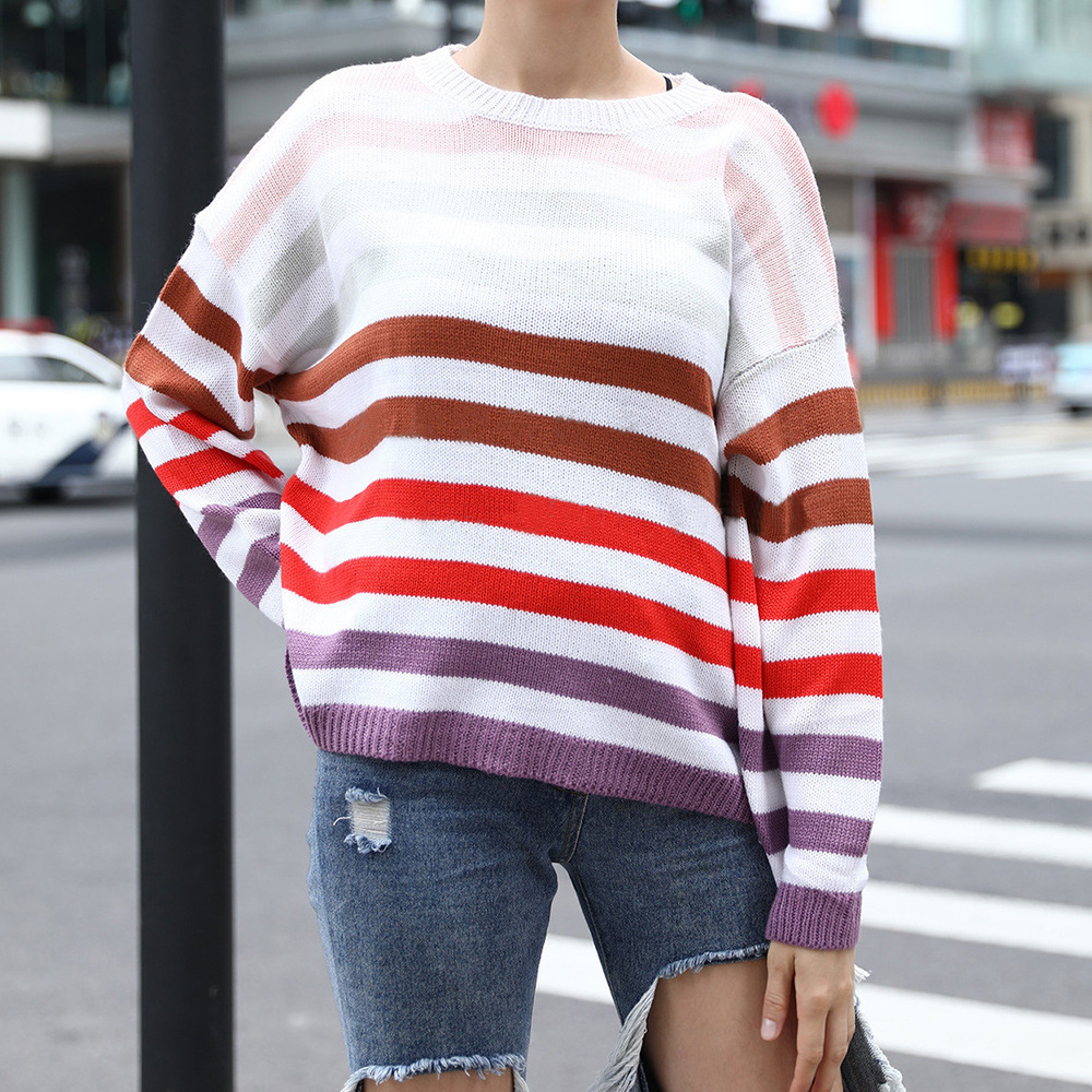 Fashion sweater autumn winter new striped stitching shirt women