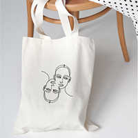 Canvas Beach Casual Shopping Tote Large Bags Fashion Women Shoulder Bag Handbags Cool Face Line Drawing Funny Print Kpop