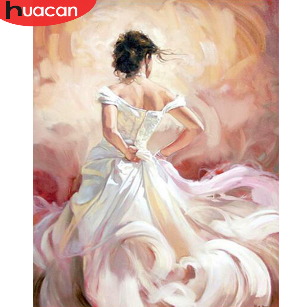 HUACAN Figure Painting By Numbers Girl Kits Drawing Canvas HandPainted Home Decor DIY Oil Pictures By Numbers