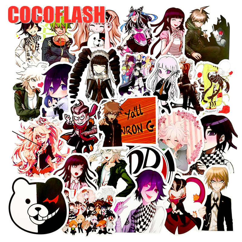 10/50Pcs/set Game Danganronpa Anime Stickers Metal Decal Sticker For Laptop Skateboard Phone Car Book Desk DIY Toy Sticker
