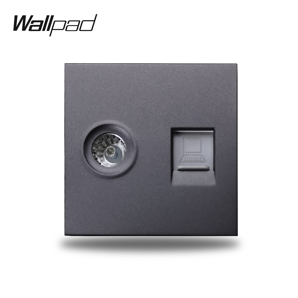 Wallpad S6 Black White TV Co-Axial Aeria Computer Internet Data RJ45 CAT6 Wall Wiring Outlet Socket Modular DIY Free Combination