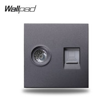 Wallpad S6 Hitam Putih TV Co-axial Aeria Komputer Data Internet RJ45 CAT6 Dinding Kabel Soket Stopkontak Modular DIY kombinasi Bebas(China)