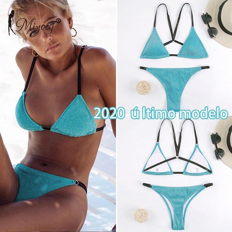 Lurex Fabric Bikini Solid Triangular Bodice Cross String Swimsuit Bling Glitter Women Bathing Suit Thong Bikini Set Swimwear