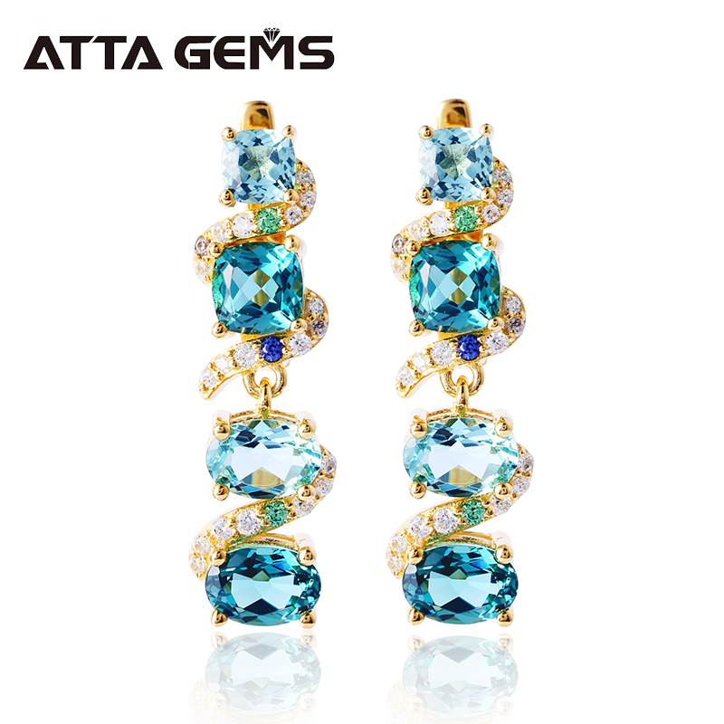 Tourmaline Sterling Silver Drop Earring Women Yellow Gold Plated Wedding 5.8 Carat Nano Paraiba Tourmaline Romantic Style