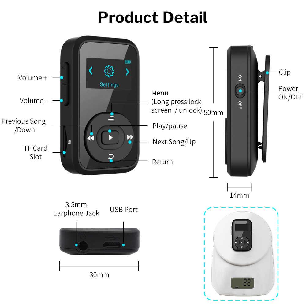 Deelife スポーツ Bluetooth MP3 プレーヤーデジタル 8 ギガバイトクリップミニポータブルスクリーンレコーダー FM ラジオサポート TF カード MP 3 音楽再生
