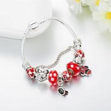 Annapaer pulseiras e braceletes femininos, pingentes de alta qualidade, joias do mickey & minnie fit, pulseiras de tamanhos para meninas, presentes