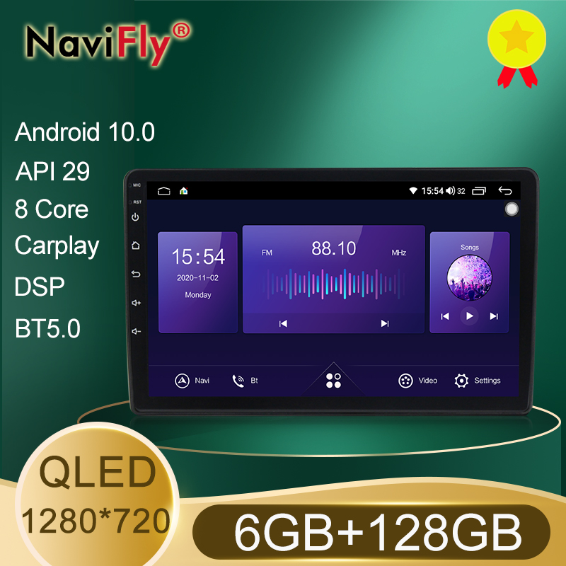 NaviFly 6 GO + 128 GO 8 Core QLED 1280*720 DSP Android 10.0 Voiture Navigation GPS Lecteur Radio Pour VW Volkswagen Golf Polo skoda rapid