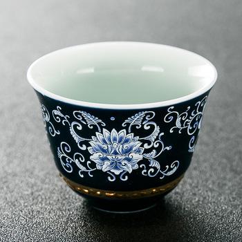 Niebieski i biały porcelanowy zestaw do herbaty Kung Fu kubek do herbaty gospodarstwa domowego prosty kubek osobisty kubek mały kubek do herbaty kubek do herbaty kubek do herbaty tanie i dobre opinie NoEnName_Null Teacups Kolor szkliwa ceramic
