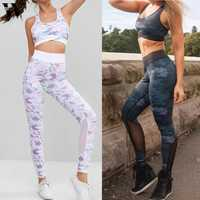 Womail Trainingsanzug Frauen ärmellose mode Camouflage Hohe Taille crop top hose Set Fitness Anzug mesh Weibliche Gym Sport Outfit
