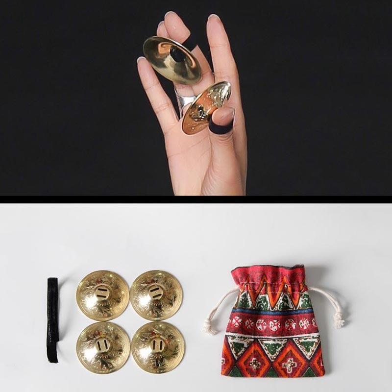 Women Copper Finger Cymbals Bellydance Zills Accessories Professional Belly Dance ATS Tribal Practical Jewellery Grain Pattern
