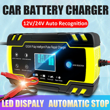 Full Automatic Car Battery Charger 12V- 24V 8A 4A LCD Display Pulse Repair Charger Wet Dry Lead Acid Battery Chargers