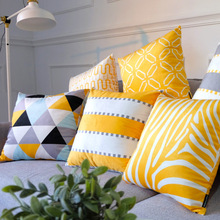 Nordic Modern Geometric Pillow Cover Velvet Yellow Series Customize Cushion Home Sofa Art Decoration Drop Shipping 1 PC