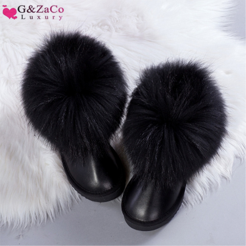 G&Zaco Luxury Natural Black Fox Fur Snow Boots Waterproof Boots Cowskin Ankle Boots Real Fur Flat Genuine Leather Women Shoes