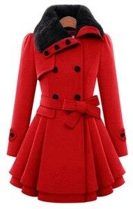 Image 3 - Manteau long mélangé de laine pour femme, manches longues, col rabattu, pardessus chaud et élégant en cachemire, hiver, veste de survêtement, décontracté