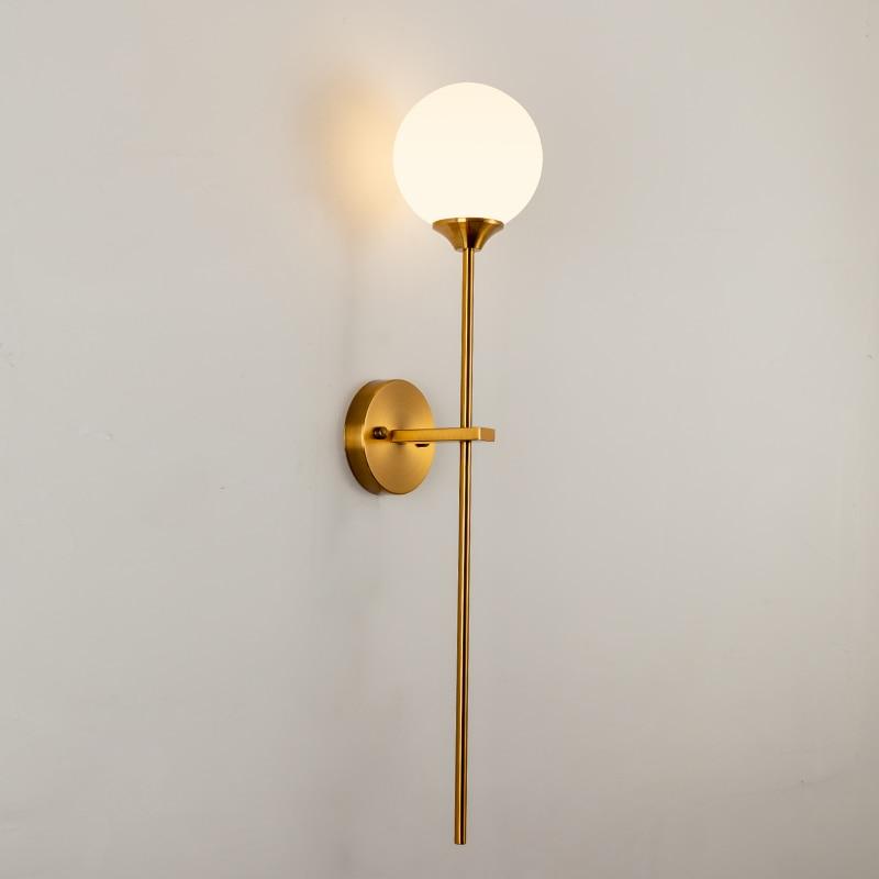 Скандинавский стеклянный шар, настенный светильник, золотые современные настенные светильники для домашнего декора, светодиодный зеркаль...