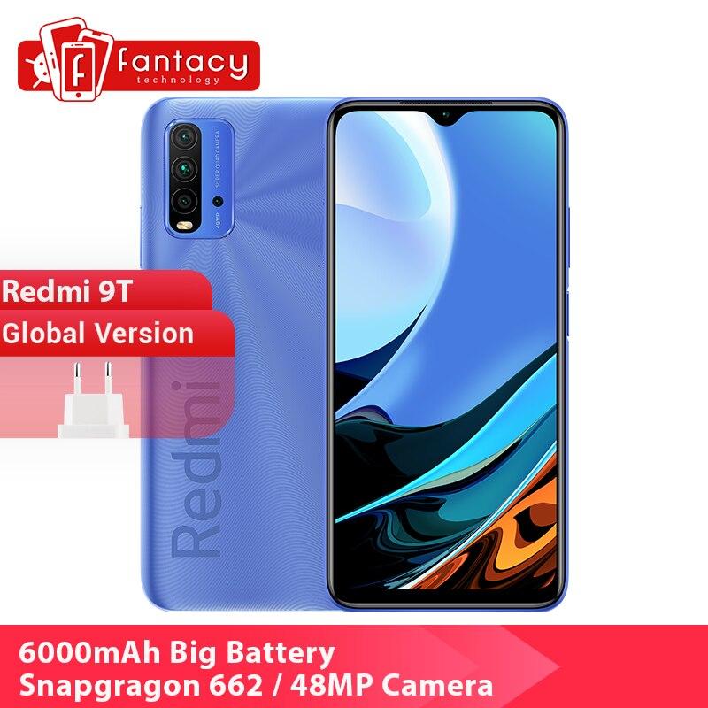 """Version mondiale Xiaomi Redmi 9 T 9 T Smartphone Snapdragon 662 4GB 128GB 6.53 """"affichage 48MP caméra 6000mAh batterie double haut-parleurs"""