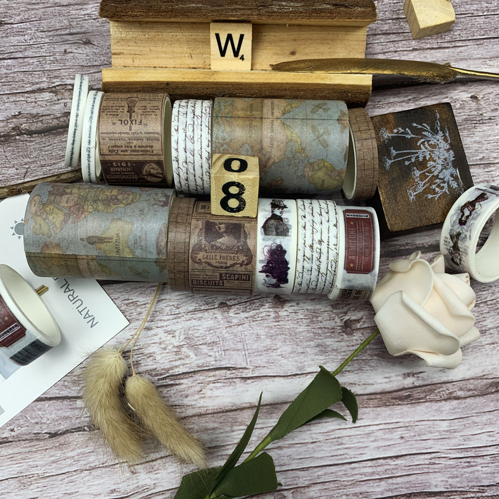 7rolls/set Travel Series Vintage Map Stamp European Retro Character Decoration Washi Tape DIY Diary Scrapbooking Masking Tape