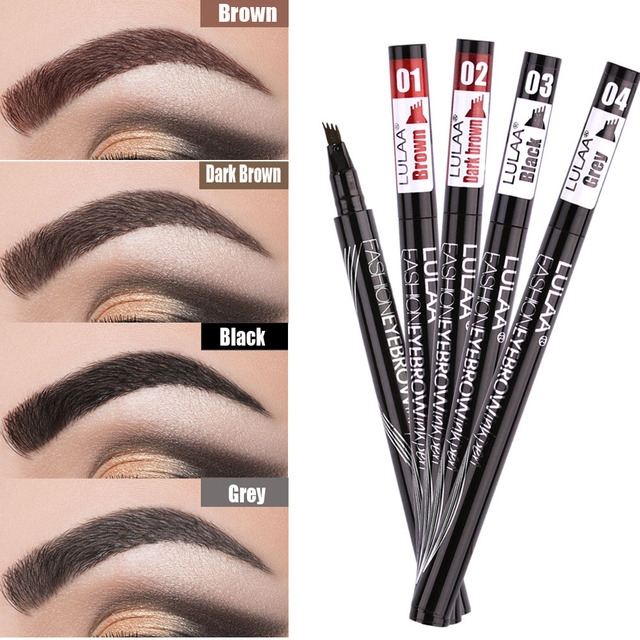 Women Waterproof Natural Eyebrow Pen Four-claw Eye Brow Tint Microblading Makeup Four Colors Eyebrow Pencil Brush Cosmetics