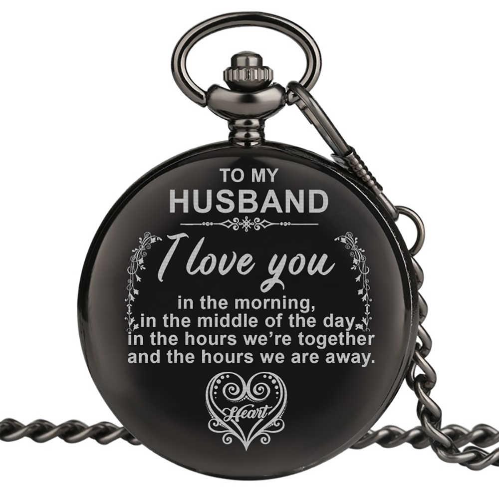 Reloj de bolsillo grabado personalizado Vintage encanto de cuarzo reloj de bolsillo hombre COLLAR COLGANTE con cadena regalos a mi marido