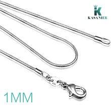 Colar corrente de cobra de prata de 1mm,, 16/18/ 20/22/ 24 925, colar de prata sólida fecho de colar correntes para mulheres jóias