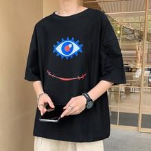 Kawaii Funny Creative Eye Print Summer Men T Shirts Short Sleeve O Neckcbasic Loose Tops 2021 New Teen Boy Clothing 2021 Trend